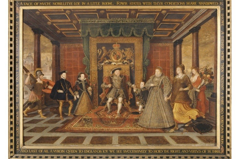 'An Allegory of the Tudor Succession', 1572. Mary is on the right of her father, Henry VIII. Her husband, Philip, stands beside her. (Photo by National Museum & Galleries of Wales Enterprises Limited/Heritage Images/Getty Images)