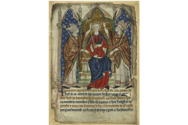 The coronation of King Henry III, 13th century (location unknown). Found in the collection of the British Library. (Photo by Fine Art Images/Heritage Images/Getty Images)