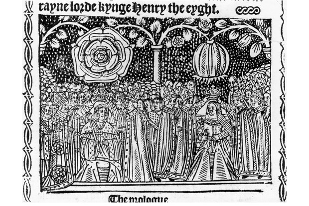 Henry VIII and his wife, Katherine of Aragon, are crowned, June 1509. (Photo by Hulton Archive/Getty Images)