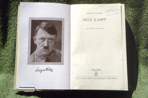 "UNSPECIFIED - CIRCA 1925:  Flyleaf of an original edition of ""Mein Kampf"" by Adolf Hitler (1889-1945), German statesman.  (Photo by Roger Viollet/Getty Images)"