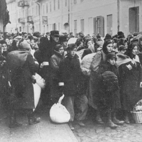 Jews waiting on a Warsaw street for the deportation to a concentration camp.(Photo by Imagno/Getty Images)