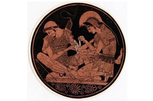 UNSPECIFIED - CIRCA 1754: Achilles, hero of Homer's epic poem Iliad, bandaging the wound of his firend Patroclus. Decoration on the base of an antique vase (Photo by Universal History Archive/Getty Images)