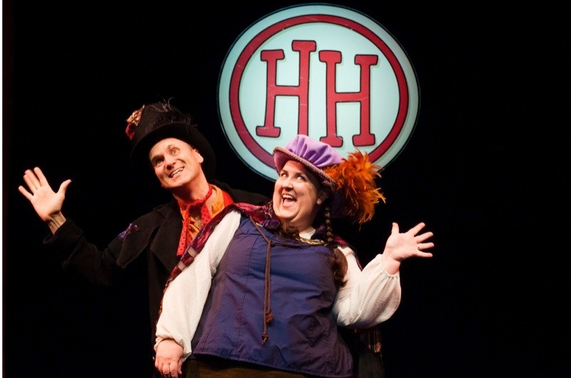 "London, UK. 06.06.2012. The Birmingham Stage Company presents ""Horrible Histories"" at the Garrick Theatre, London, UK. Picture shows: Neal Foster (as Rex) and Alison Fitzjohn (as Queenie). Photography by Jane Hobson."