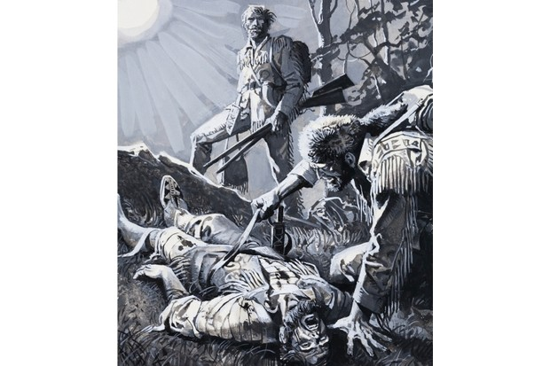 LAL278835 Hugh Glass being left to his fate, having been savaged by a bear (gouache on paper) by Baraldi, Severino (b.1930); Private Collection; (add.info.: Hugh Glass (c.1780-1833) American fur trapper and frontiersman;); © Look and Learn; Italian,  out of copyright