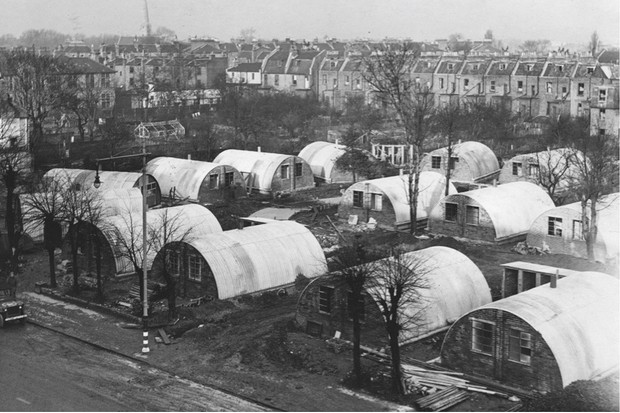 Huts in Lambeth built for bombed-out families, 1945. (Getty)