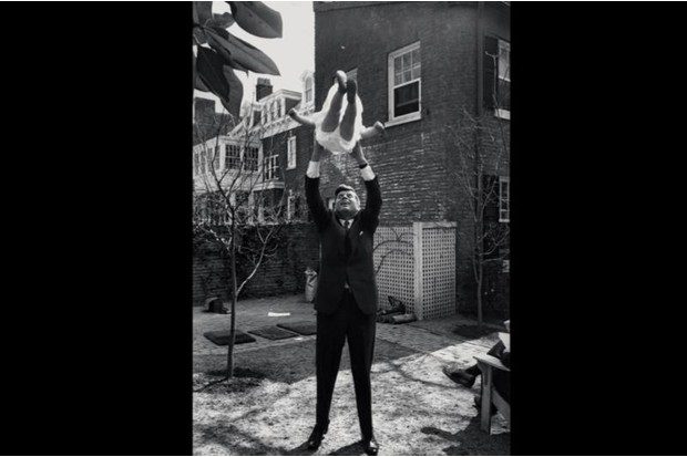 Jack and Caroline Kennedy in Georgetown, 1959
