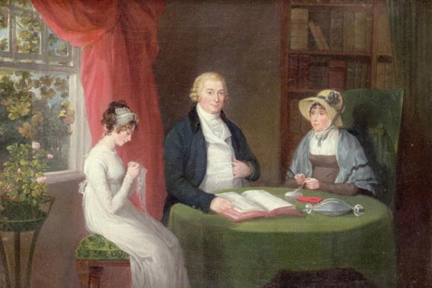 A Maria Spilsbury painting of a group sat at a drawing room table