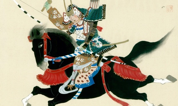 Samurai Warrior riding a horse. A Japanese painting on silk, in a traditional Japanese style