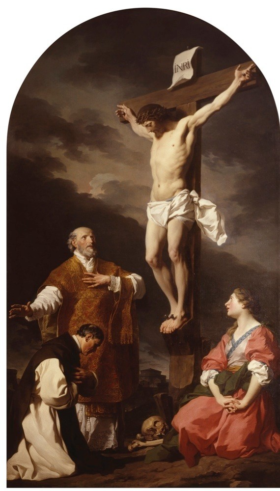 """Crucifixion with Mary Magdalene, St. Eusebius and St. Philip Neri, by Pierre Subleyras, 18th century, oil on canvas. Italy, Lombardy, Milan, Brera Collection. Whole artwork view. Crucifixion with Saints Eusebius standing, Philip Neri and Mary Magdalene kneeling, skull and bones at the foot of the cross. (Photo by Cesare Somaini/Electa/Mondadori Portfolio via Getty Images)"""