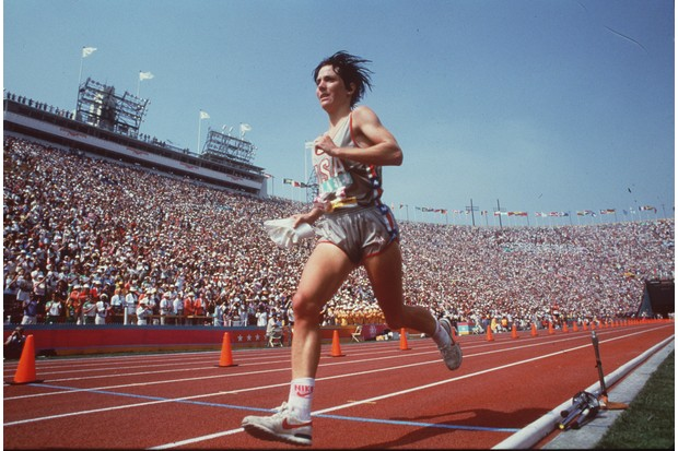 Joan Benoit wins the gold medal at the first women's Olympic marathon, held in Los Angeles in 1984. (Photo by Joe Kennedy/Los Angeles Times via Getty Images)