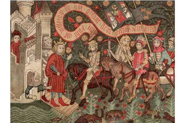 St Joan of Arc (1412 - 1431), known as the Maid of Orleans (centre) arrives at Chinon Castle to meet the dauphin during the Hundred Years' War,6th March 1429. Her inner voices moved her to ask the Dauphin to let her fight the English in 1428. She drove the English from Orleans in 1429, but was captured and executed for practicing witchcraft, proclaimed innocent in 1456 and canonized in 1920. Original Artwork: From a contemporary tapestry in Orleans. (Photo by Henry Guttmann/Getty Images)
