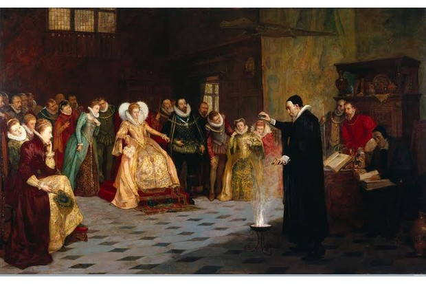 L0021973 John Dee performing an experiment before Queen Elizabeth I.Credit: Wellcome Library, London. Wellcome Imagesimages@wellcome.ac.ukhttp://wellcomeimages.orgJohn Dee performing an experiment before Queen Elizabeth I. Oil painting by Henry Gillard Glindoni.Published: - Copyrighted work available under Creative Commons Attribution only licence CC BY 4.0 http://creativecommons.org/licenses/by/4.0/