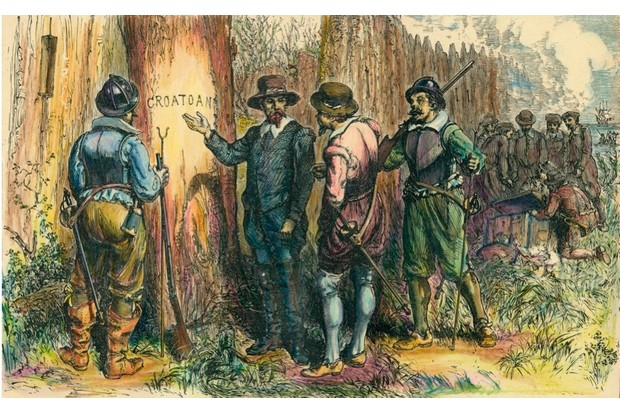 John White and others are shown on Roanoke Island, North Carolina, 1590, having returned to the English colony in America with relief supplies. White found no trace of the colonists. The picture depicts John White pointing to the word 'Croatoan' that he found carved into a tree trunk. (Photo by Stock Montage/Getty Images)