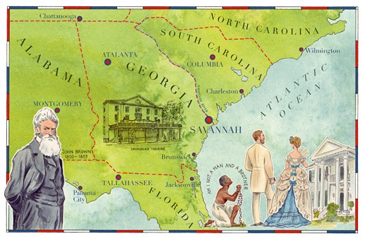An illustrated map of Savannah, Georgia