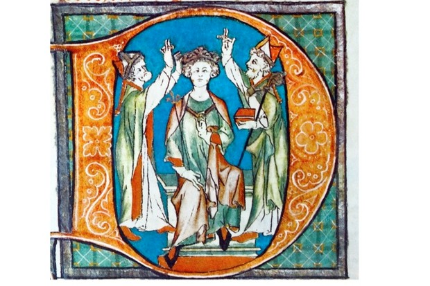 An illustration of King Arthur's coronation, from the 13th-century Flores Historiarum
