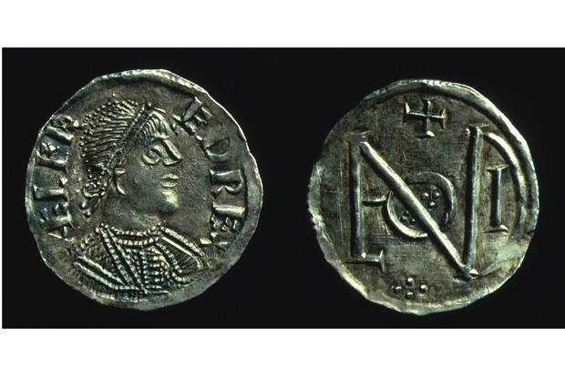 Silver penny of King Alfred, c886-c899. The reverse of this coin bears a monogram made up of the letters of LVNDONIA (London), possibly to commemorate the recovery or restoration of London after its occupation by the Danes. (Photo by Museum of London/Heritage Images/Getty Images)