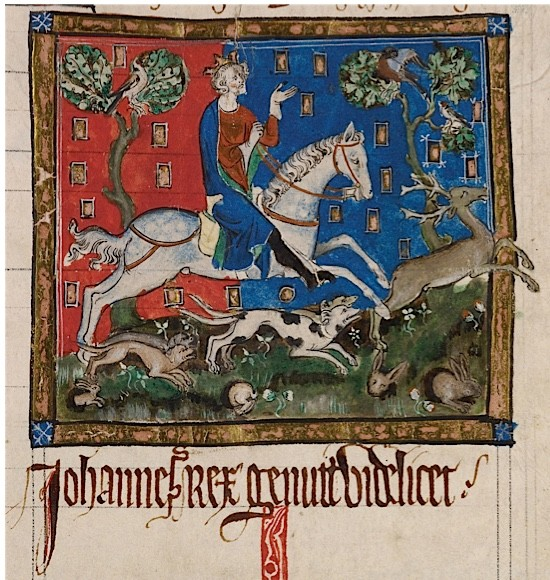 A 14th-century image of King John, one of medieval England's most unpopular monarchs, hunting on horseback.