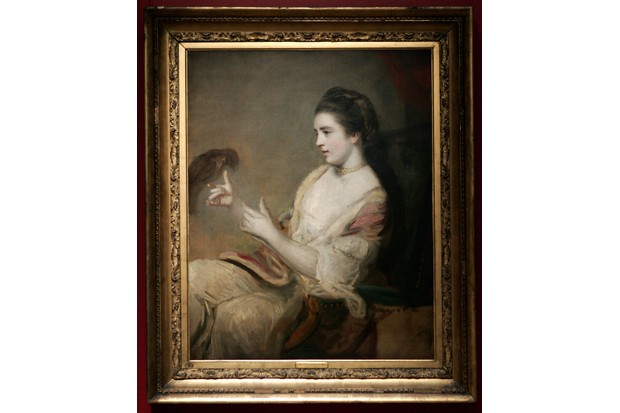 A portrait of Kitty Fisher by Sir Joshua Reynolds, painted between 1723 and 1792 is pictured at Sothebys auction house, in London, 16 November 2007. The painting is expected to fetch between 2,000,000 and 3,000,000 pounds (2,793,496.24 and 4,190,362.13 Euros). AFP PHOTO / CARL DE SOUZA (Photo credit should read CARL DE SOUZA/AFP/Getty Images)