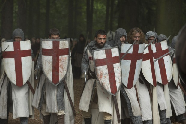 Templars wear their distinctive uniform in this scene from 'Knightfall'. (Image credit: History)