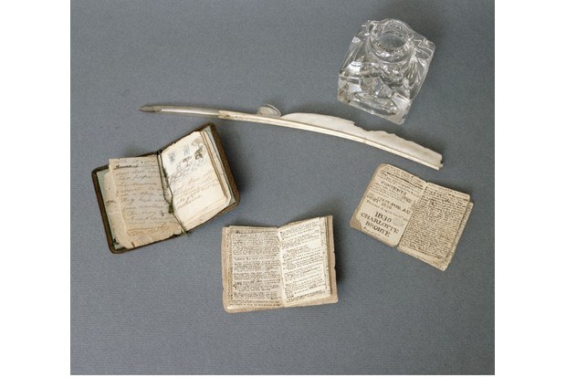 Little books by the Brontë sisters, 19th century. (Photo by Bronte Parsonage Museum, Haworth, Yorkshire/Bridgeman Images)