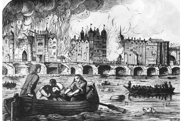 London Bridge on fire during the Great Fire of London, 1666. (Photo by Hulton Archive/Getty Images)