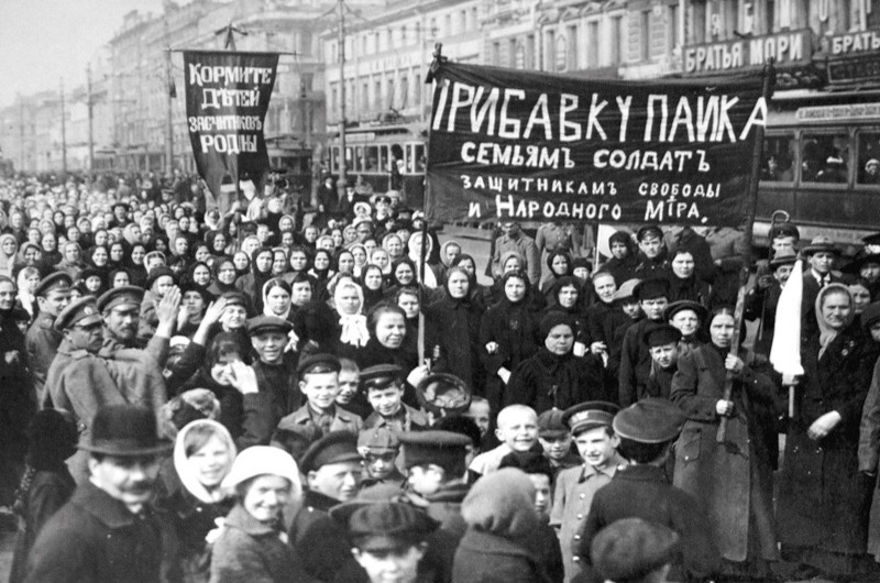 Striking workers carry banners through the streets of Petrograd (St Petersburg) at the start of the February Revolution that brought the fall of the Russian monarchy the next month. (Getty Images)