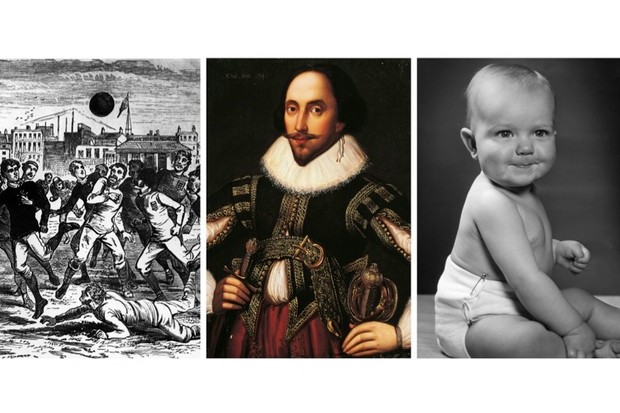 'Soccer' and 'diaper' are among many 'American' words that are more faithful to the old English tongue than those used in Britain today, says James Evans. Other 'Americanisms' were used in Shakespeare's plays before the first English colony was established in Virginia. (L to R: Photos by Hulton Archive/Getty Images; DeAgostini/Getty Images; Hulton Archive/Getty Images)