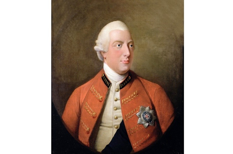 A portrait of King George III in 1794 before a 1775 sketch of Buckingham House. The conspirators were, it was alleged, planning to kidnap the king while en route from the House to Parliament. (Bridgeman Art Library)