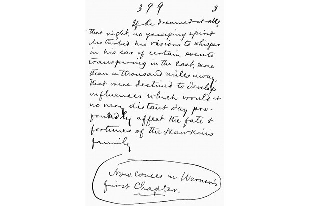 'Gilded Age' - by 'Gilded Age' - by Mark Twain, written in 1873. A page of his  handwritten manuscript. MT: American humanist, satirist, lecturer and writer, 30 November 1835 –21  April 1910.  (Photo by Culture Club/Getty Images)