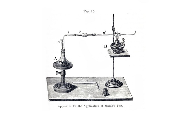 Marsh Test Apparatus, Steel engraving, 1867. (Photo by: Universal History Archive/UIG via Getty Images)