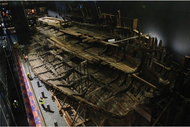 Henry VIII's warship the Mary Rose in Portsmouth, 2016. (Photo by Olivia Harris/Getty Images)