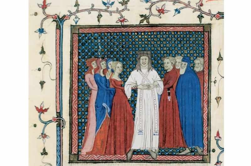 A medieval couple being married by a clergyman. Central miniature, folio 102v. Book IV by Henricus von Assia (13th century). Chapter Archive of Tarazona, Spain. (Photo by PHAS/UIG via Getty Images)