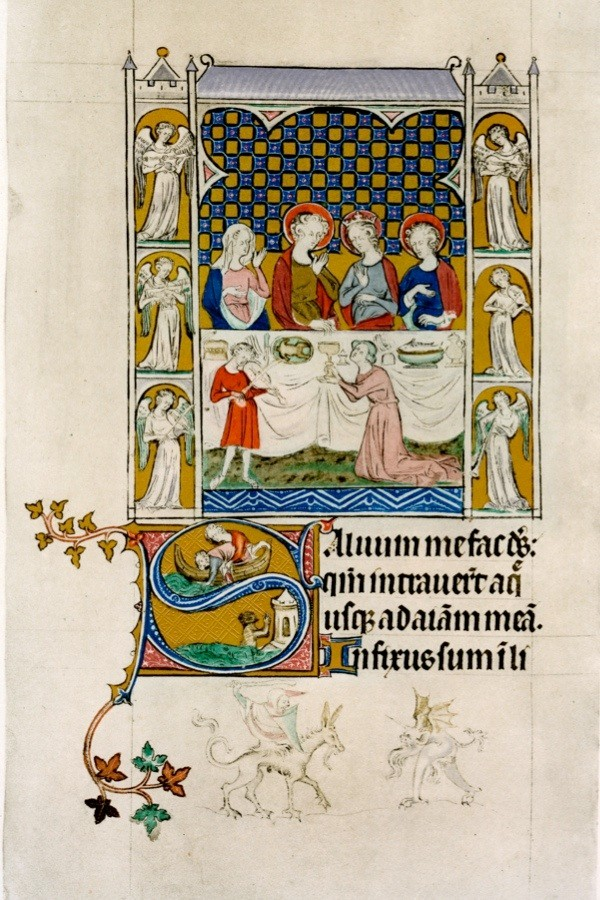 the marriage feast at cana early 14th century below in an initial letter