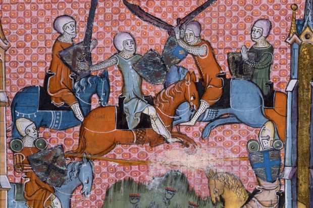 Illustrated Medieval scene from the Romance of Lancelot