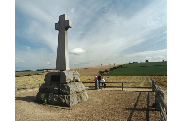 Memorial cross at Flodden Field, site of the 1513 battle of Flodden. (Photo by English Heritage/Heritage Images/Getty Images)
