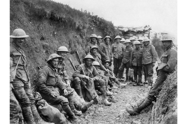 Men of Royal Irish Rifles resting in a communication during the opening hours of the battle of the Somme, 1 July 1916. Ministry of Information First World War Official Collection. (Photo by Royal Engineers No 1 Printing Company/IWM via Getty Images)