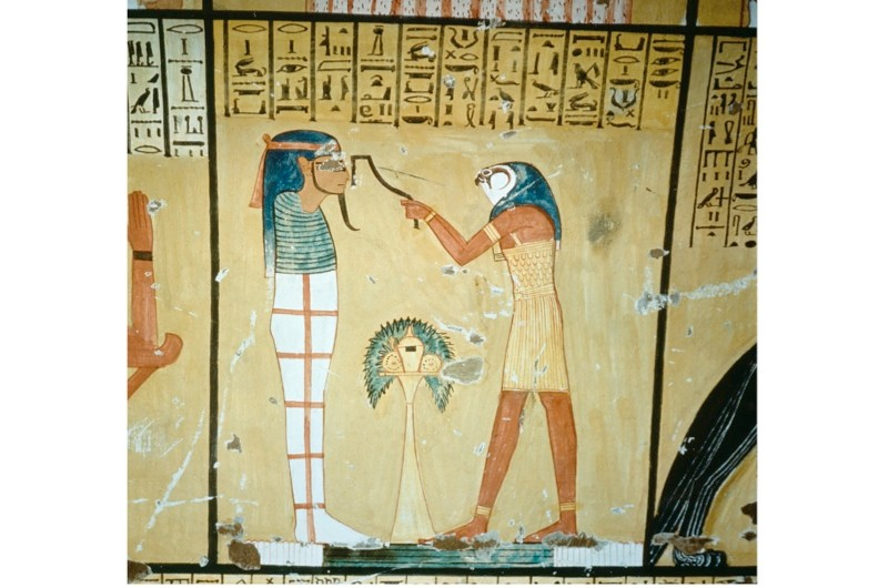 A painting in the tomb of Inherkha – a priest wearing the mask of Horus is performing the opening of the mouth ritual. The purpose was to restore to the deceased the use of the senses, thus restoring life in the next world. Ancient Egyptian 20th dynasty c1186-1070 BC. (Photo by Werner Forman/Universal Images Group/Getty Images)