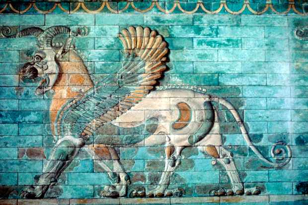 Ancient Griffin-lion relief