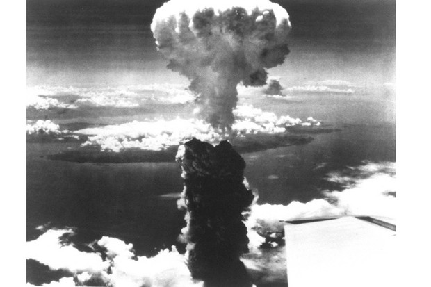A mushroom cloud over Nagasaki, Japan