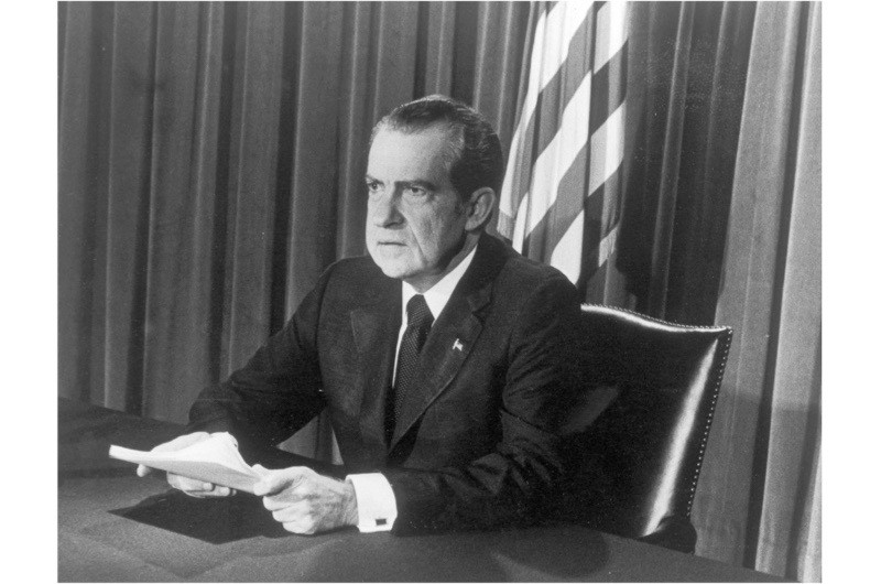 President Nixon making his final televised address as president of the United States, 9 August 1974. Nixon became the first, and so far the only, president to resign from office, following the Watergate scandal. (Photo by Getty Images)