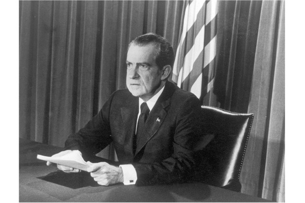 President Nixon making final TV address