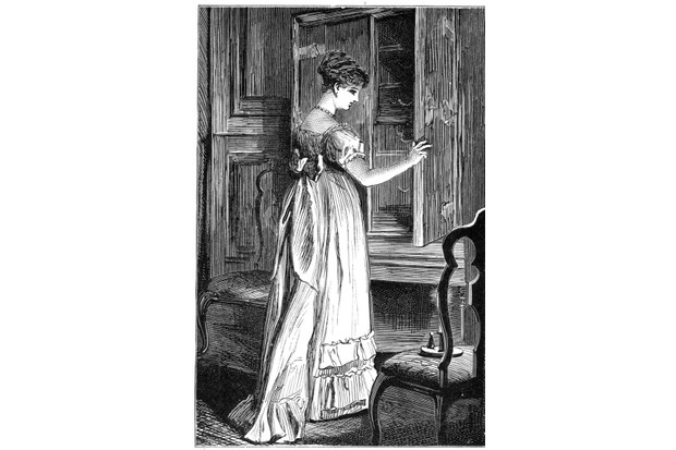 Scene from Jane Austen's Northanger Abbey. A print from an edition of Jane Austen's Northanger Abbey and Persuasion. (George Routledge and Sons, London). (Photo by The Print Collector/Print Collector/Getty Images)