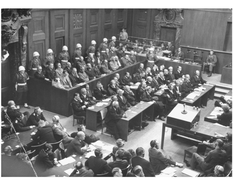 An aerial view showing the courtroom during the Nuremberg Trials, November 1945. (Photo by Walter Sanders/The LIFE Picture Collection/Getty Images)