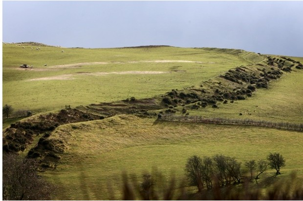 The Offa's Dyke on Llanfair Hill north of Knighton, Powys. PRESS ASSOCIATION PHOTO. 5th March 2009. Picture credit David Jones/PA
