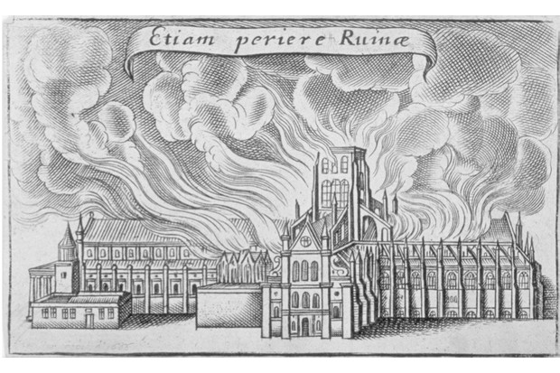 Old St Paul's Cathedral burning in the Great Fire of London, 1666. By Wenceslaus Hollar. (Photo by Guildhall Library & Art Gallery/Heritage Images/Getty Images)