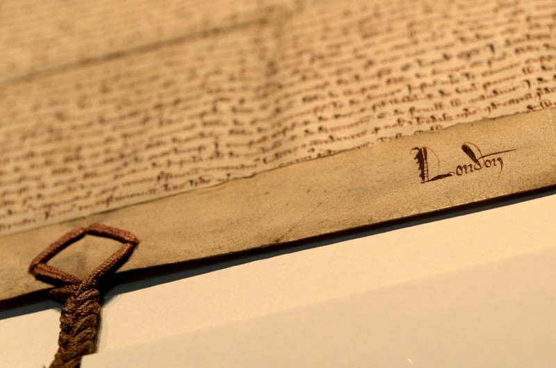 Detailed view of the 1297 Magna Carta as it is installed into the new Heritage Gallery in the City of London PRESS ASSOCIATION Photo. Picture date: Friday October 10, 2014. See PA story HERITAGE . Photo credit should read: Andrew Matthews/PA Wire