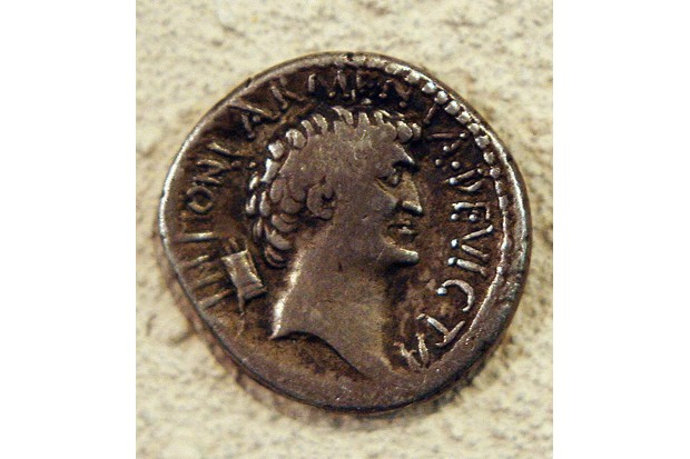 Embargoed to 0001 Wednesday February 14. A 2,000-year-old Roman coin shows that Antony (side shown) and Cleopatra were not the great beauties that Hollywood would have us believe.