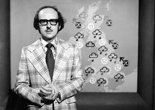 Michael Fish makes his first televised weather forecast in 1974. (Photo by Press Association)