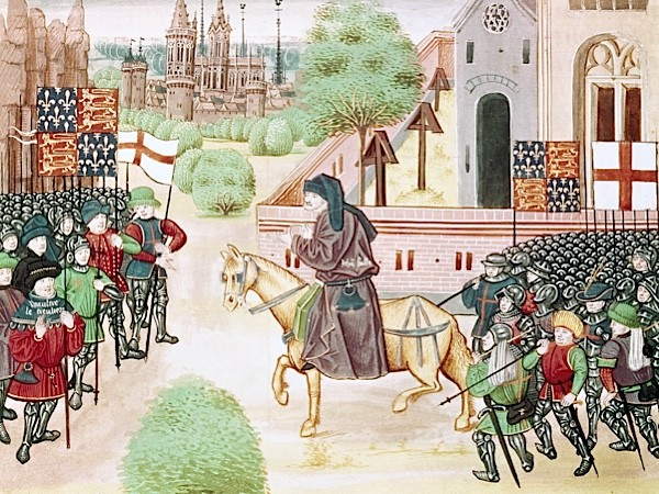 A 15th-century image depicting the meeting between Wat Tyler and the revolutionary priest John Ball during the Peasants' Revolt. (Prisma/UIG/Getty Images)