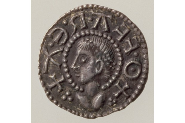 FIT168071 Penny of Offa, King of Mercia, 757-96 (obverse) (silver) (for reverse see 168072) by English School, (8th century); diameter: 1.7cm cm; Fitzwilliam Museum, University of Cambridge, UK; English,  out of copyright